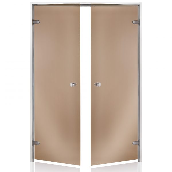 HARVIA Двери стеклянные, двойные 15/19 коробка алюминий, стекло бронза
