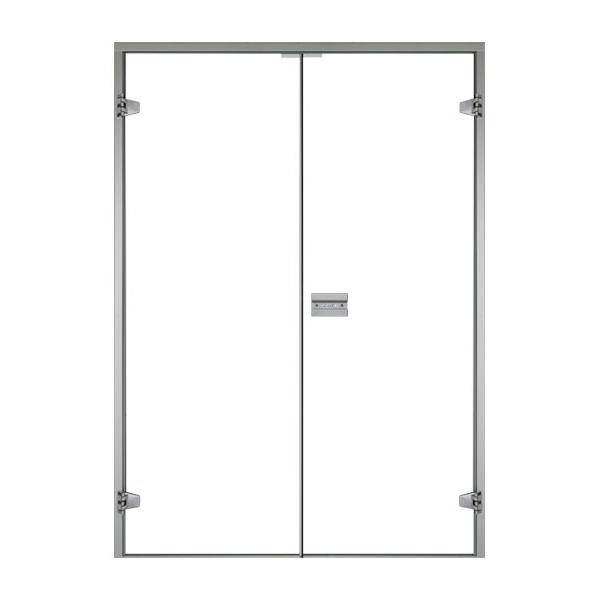 HARVIA Двери стеклянные, двойные 17/19 коробка ольха/осина, прозрачная
