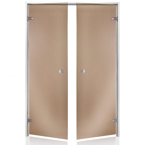 HARVIA Двери стеклянные, двойные 13/19 коробка алюминий, стекло бронза