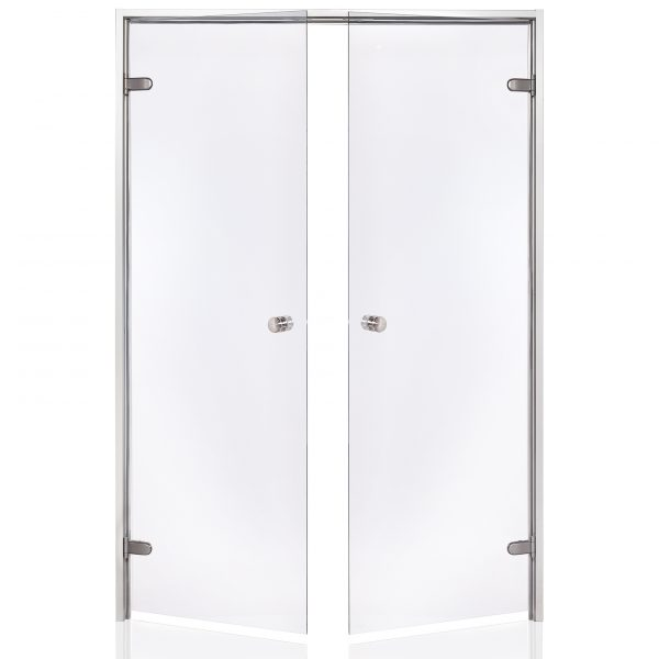 HARVIA Двери стеклянные, двойные 15/19 коробка алюминий, стекло прозрачное