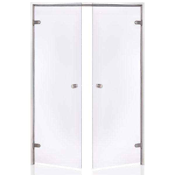 HARVIA Двери стеклянные, двойные 13/19 коробка алюминий, стекло прозрачное