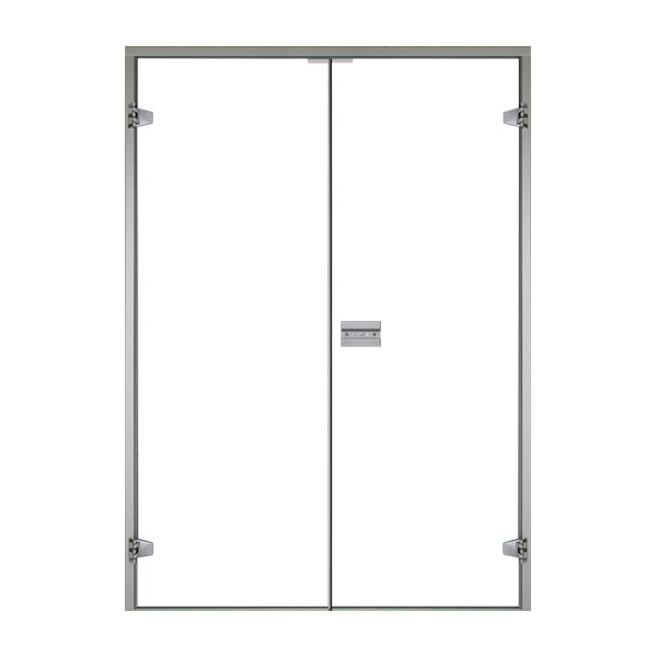 HARVIA Двери стеклянные, двойные 15/21 коробка ольха/осина, прозрачная
