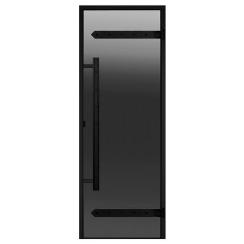 HARVIA Двери стеклянные LEGEND 7/19 черная коробка алюминий, стекло серое, арт. DA71902L