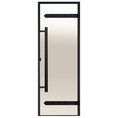 HARVIA Двери стеклянные LEGEND 7/19 черная коробка алюминий, стекло сатин, арт. DA71905L