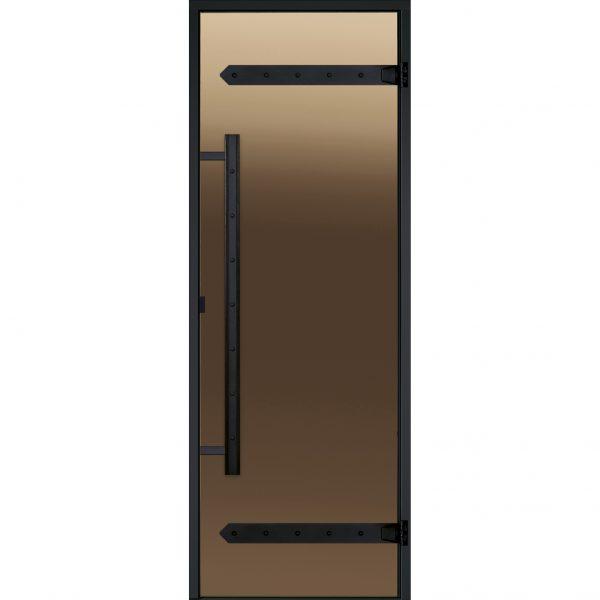 HARVIA Двери стеклянные LEGEND 9/19 черная коробка алюминий, стекло бронза, арт. DA91901L