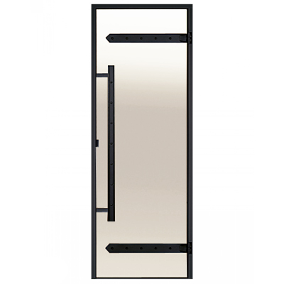 HARVIA Двери стеклянные LEGEND 9/19 черная коробка алюминий, стекло сатин, арт. DA91905L