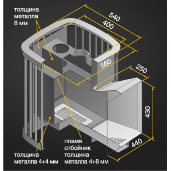 Дровяная печь-камин для бани Везувий Тайфун 16