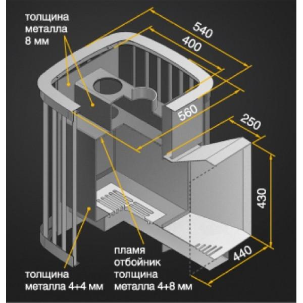 Дровяная печь для бани Везувий Тайфун 28 камин (205)